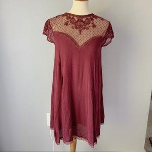 Kimchi Blue Red Lace Short Sleeved Mini Dress